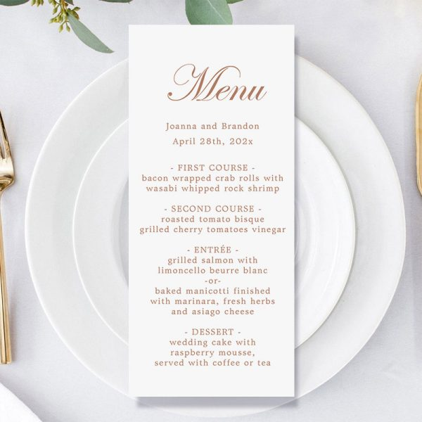 how to personalize wedding menu card
