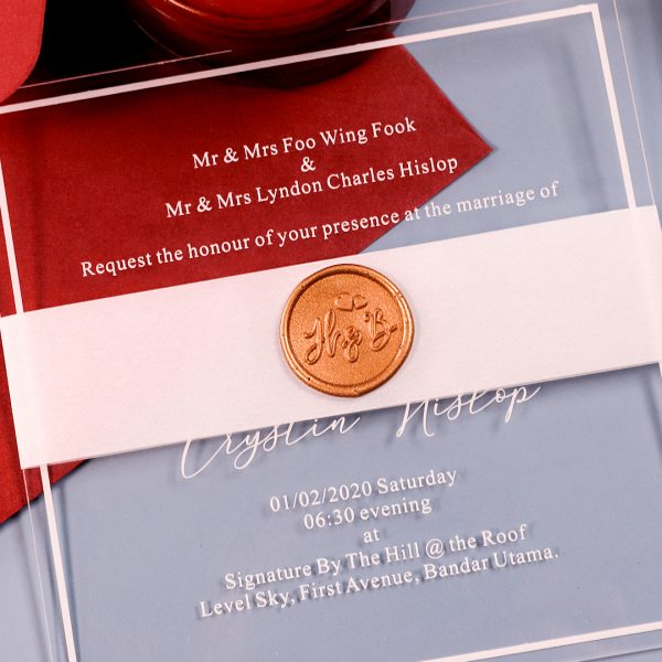 Seal clear wedding invitations with Wax Sticker