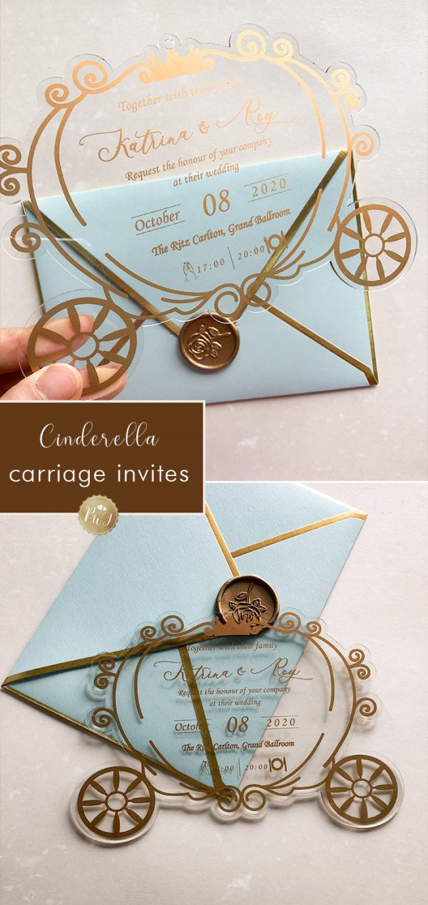 cinderella carriage disney theme glass wedding invites