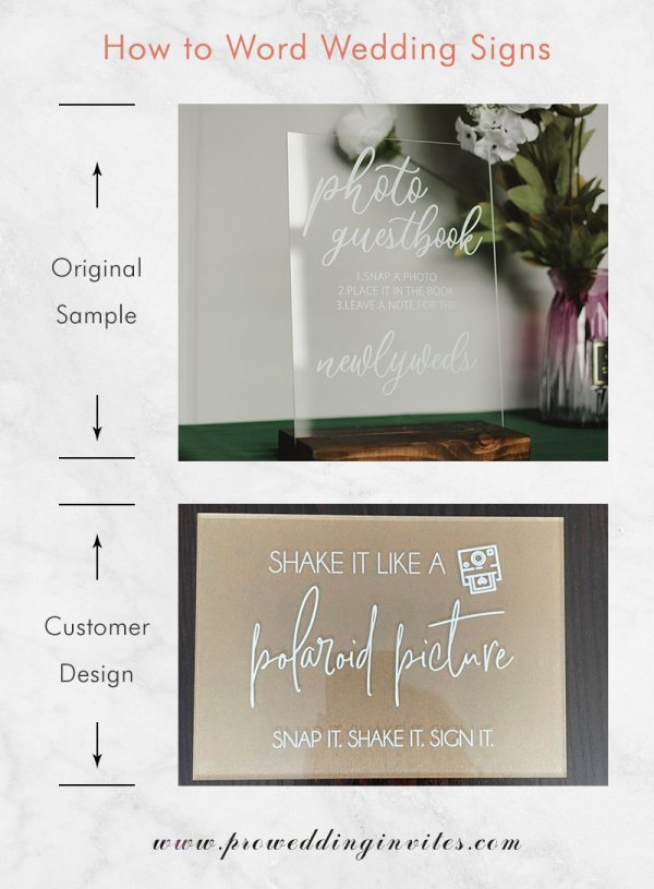 Photo Guest Book Sign, Acrylic Wedding Sign, Snap It Shake It Stick It Sign It, Modern Weddings