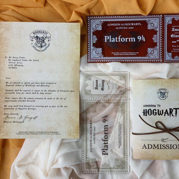 harry potter theme custom wedding invitations cards vintage