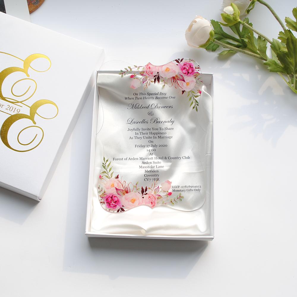 Clear Invitation With Metalic Paper Box