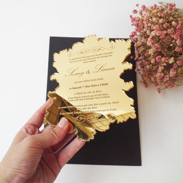unique map shape clear acrylic wedding invitations