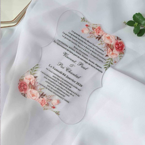 unique shape clear acrylic wedding invitations with pink flowers