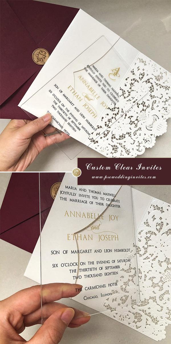 clear acrylic wedding invitation card with laser cut pocket
