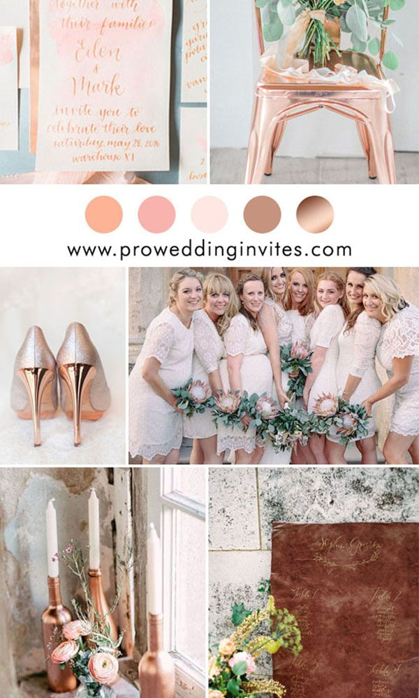 8 Copper Wedding Color Schemes with Matching Wedding Invitations