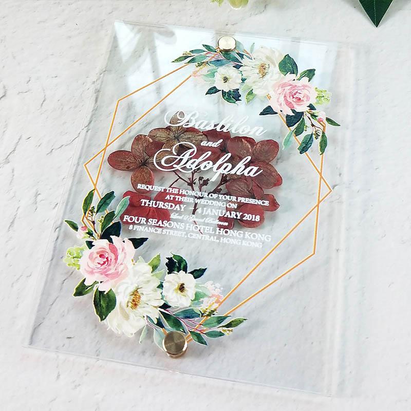 chic flower pressed acrylic wedding invitation