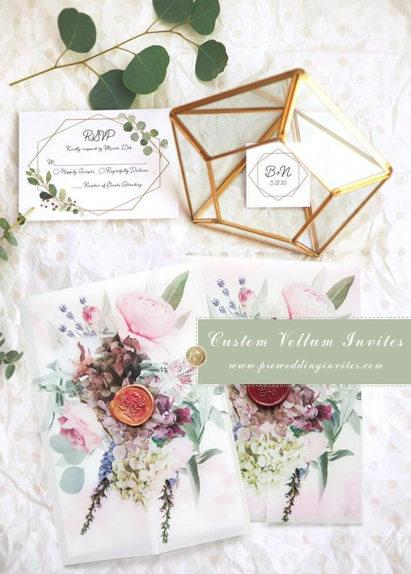 flower acrylic wedding invitation suite with customized vellum wrap