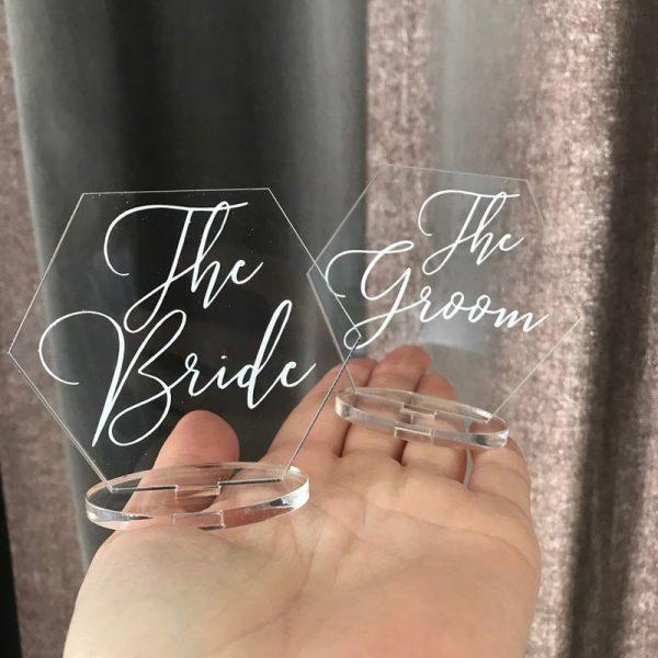 unique hexagon shape clear acrylic wedding bride and groom cards