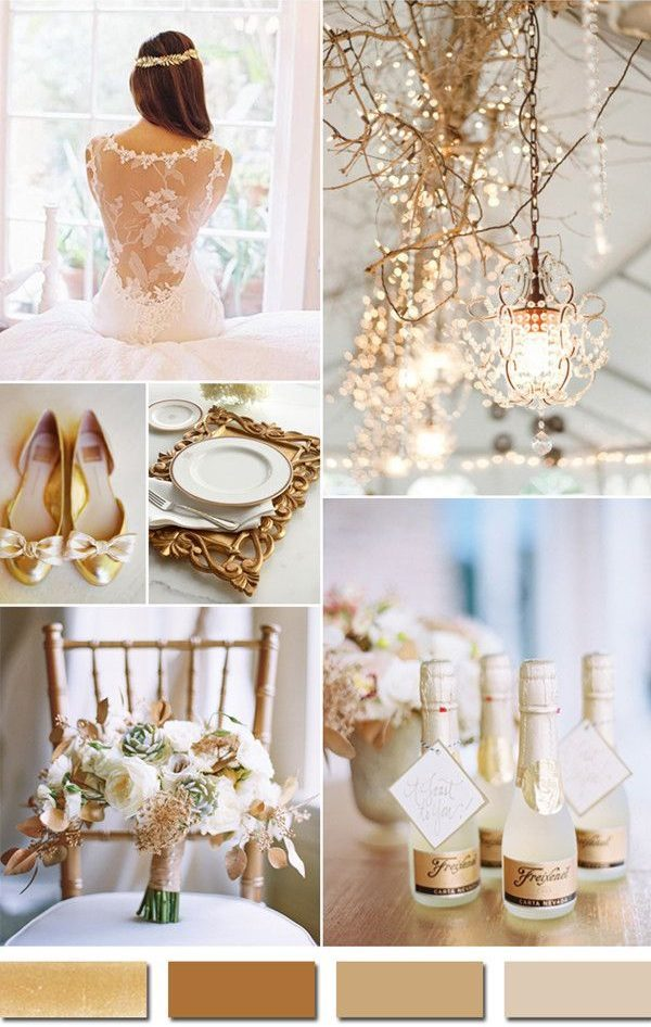Ecru and Gold:Appealing Wedding Color Ideas for You