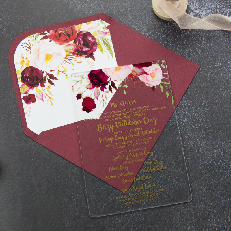 Acrylic Floral Wedding Invitation With Gold Foil Boho Clear