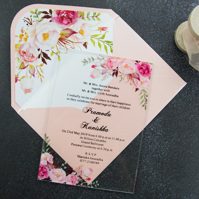 Wedding Video Invitation: Acrylic Pink Floral Wedding Invitation Simplicity Clear