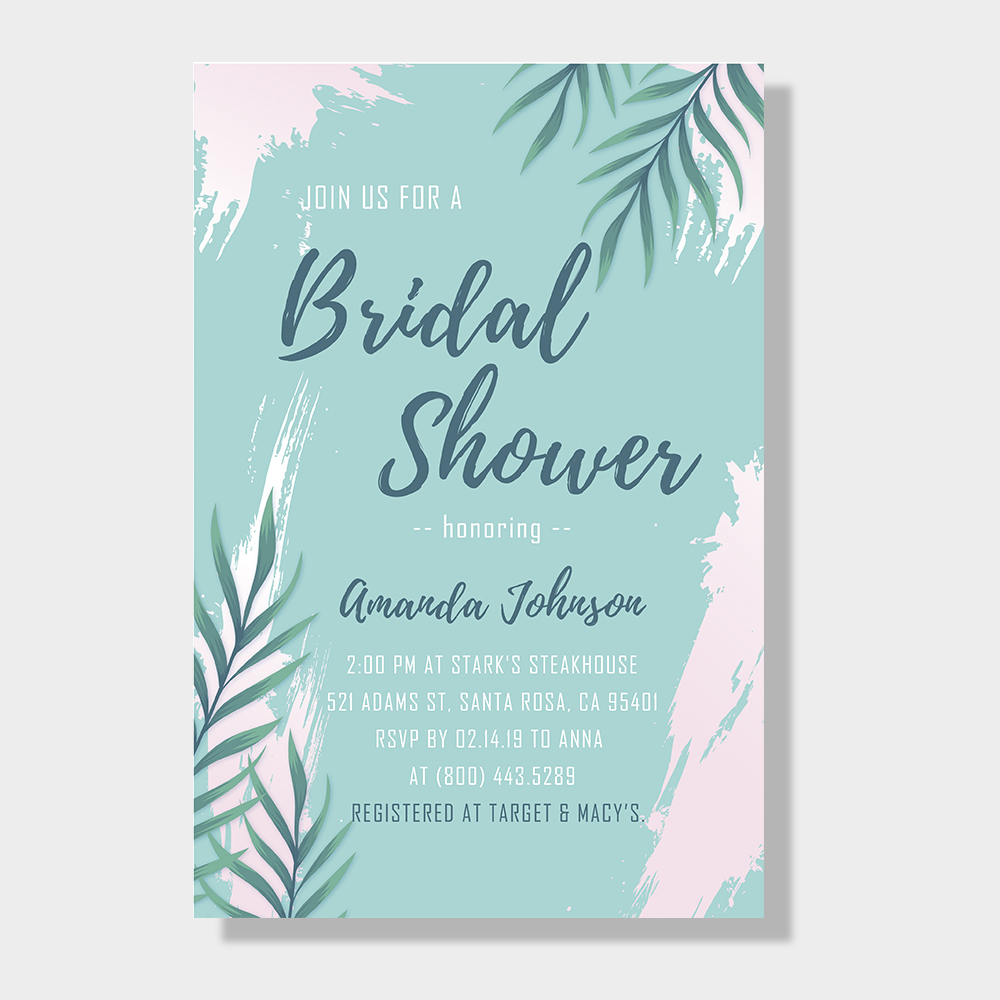 Beach Tropical Leaf Bridal Shower Invitation Cards PWIB004