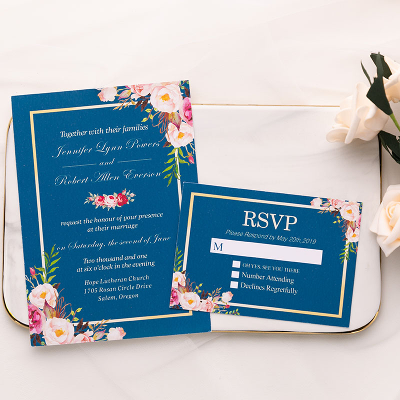 afordable navy blue flat wedding invite with fragrant burgundy and blush floral PWIF002