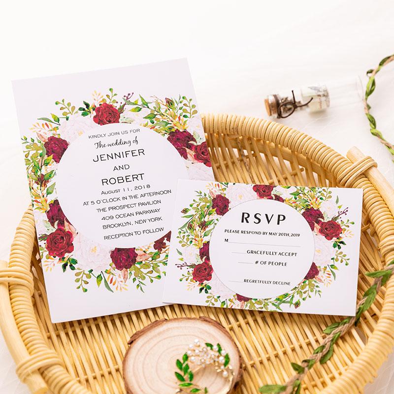Flat Wedding Invitations: Classic Flat Burgundy And Blush Floral Wedding Invitation