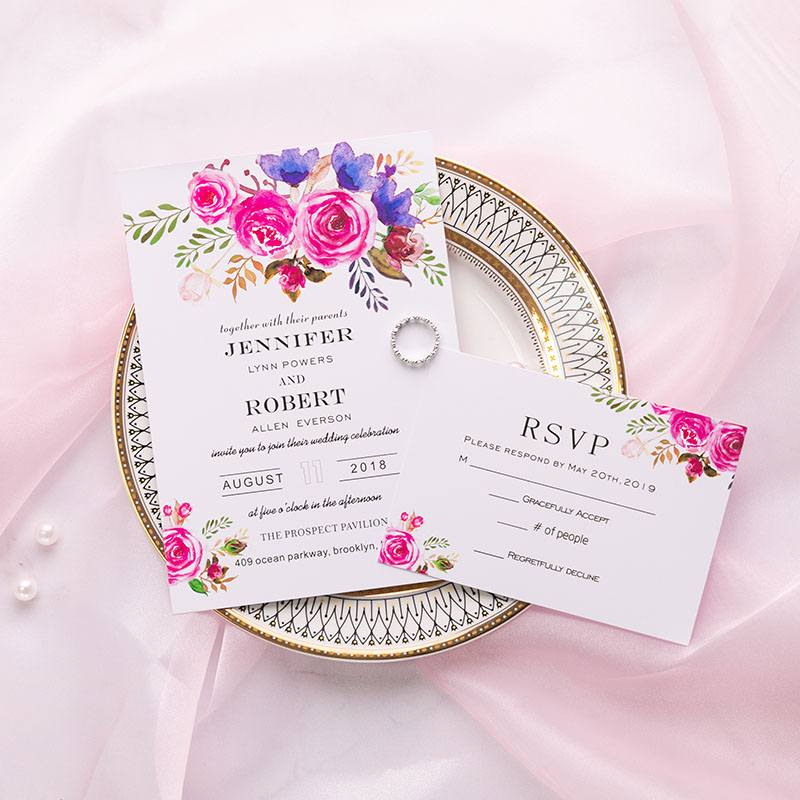 affordable romantic watercolor florals wedding invitation PWIF004