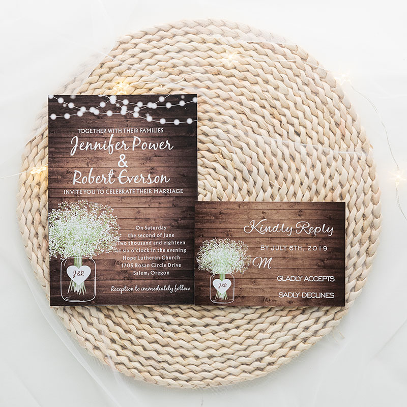 rustic woodland wedding invite with babybreath pattern and string lights PWIF006
