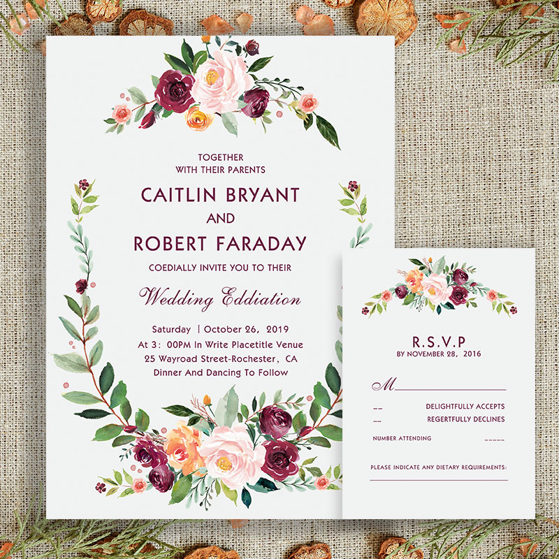 Bohemian Style Wedding Invitations with Floral Blush Plum Purple Flowers PWIF008