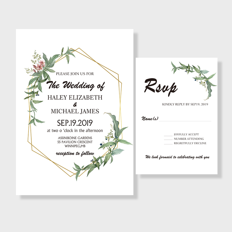 Rustic Greenery Botanical Wedding Invitation PWIF009