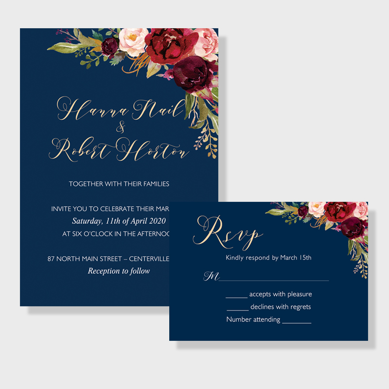 Afordable Navy Blue Wedding Invite With Burgundy Floral PWIF010