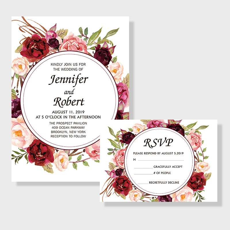 Classic Burgundy And Blush Floral Inspired Wedding Invitation PWIF011