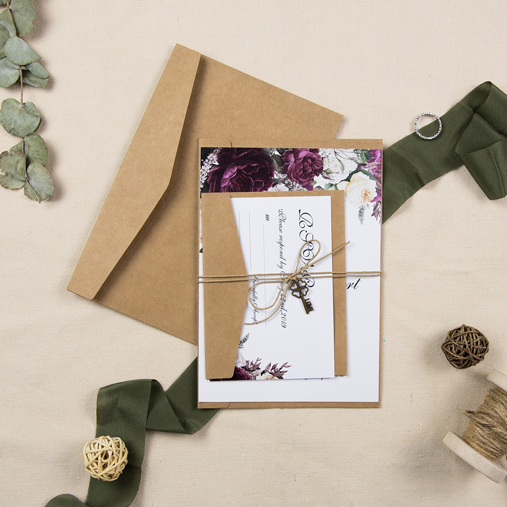 Vintage purple plum floral inspired wedding invitation with delicate key and wax rope and kraft envelope PWIF013