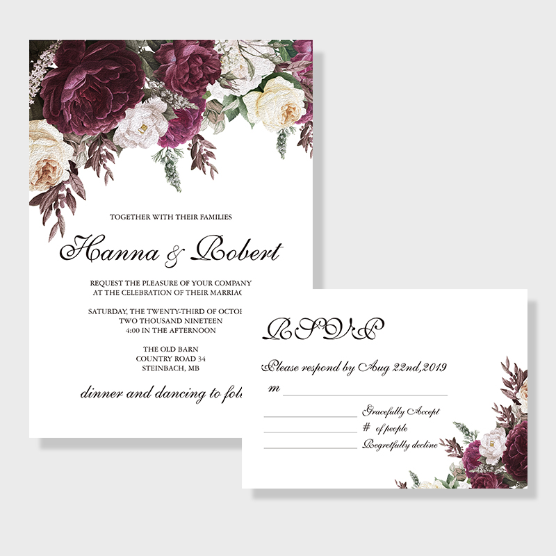 Vintage purple plumf floral inspired wedding invitation PWIF014