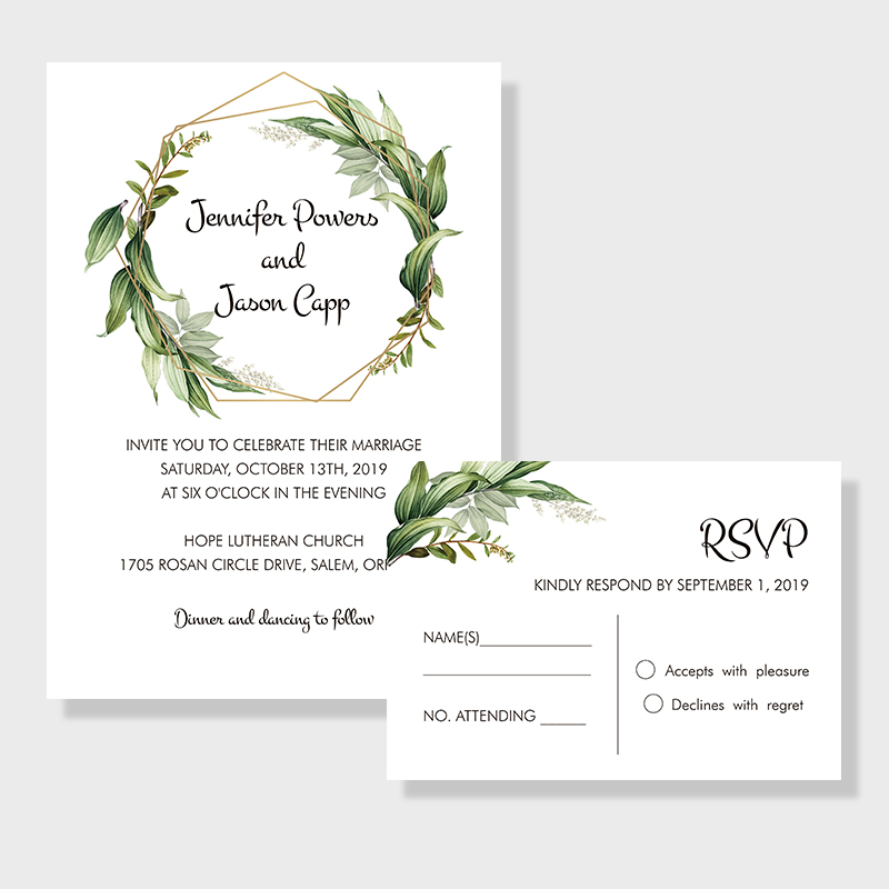 Graceful Garden Lush Greenery Inspired Invitation PWIF020