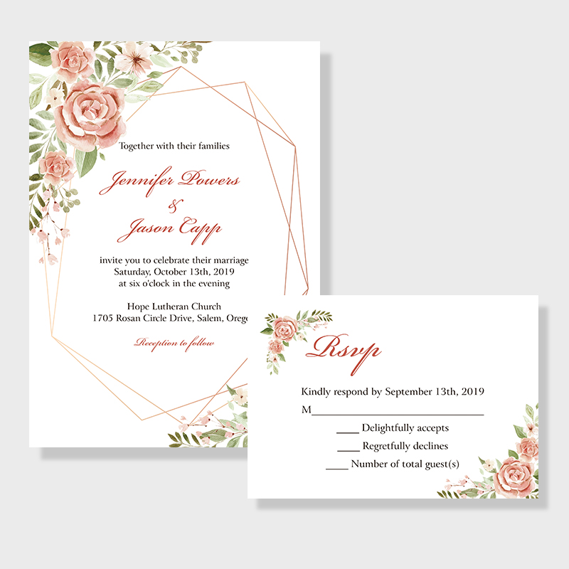 Geometric Blooms Pink Florals And Geometric Pattern Wedding