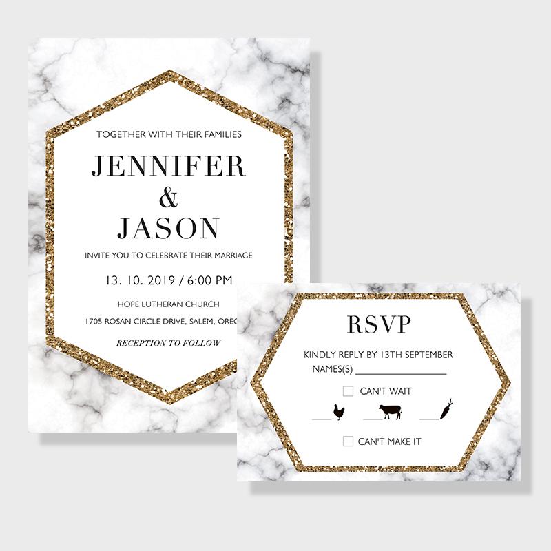gold marble geometric modern wedding invitations pwif027