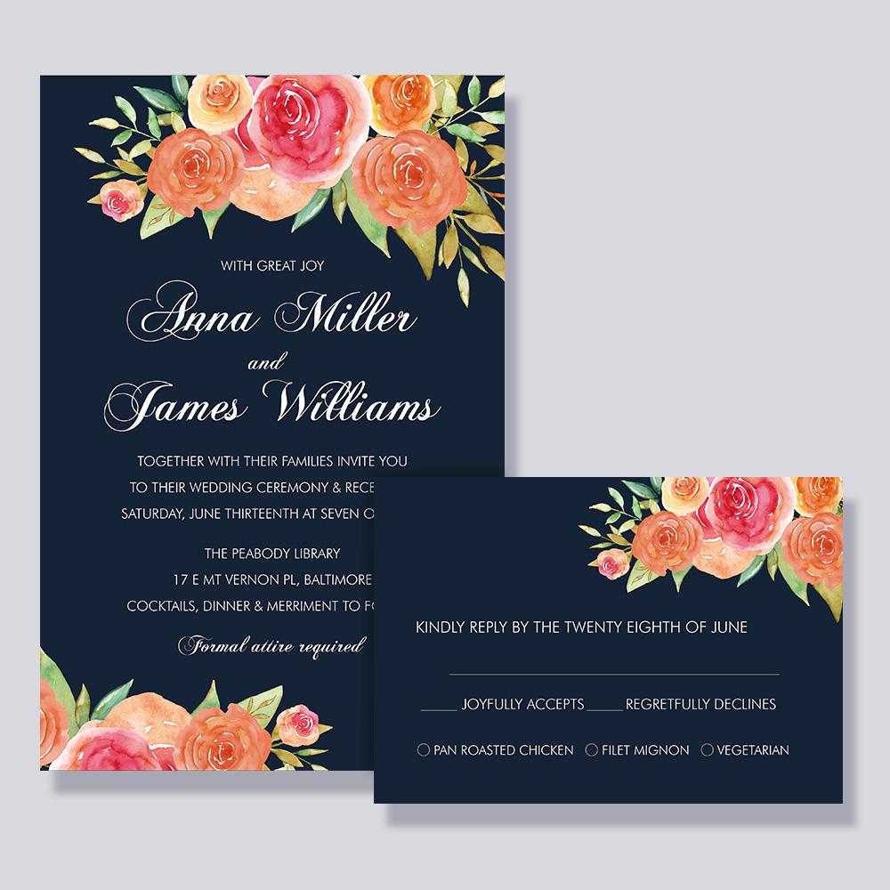 Navy Wedding Invitation: Romantic Navy Blue And Floral Coral Wedding Invitation Set