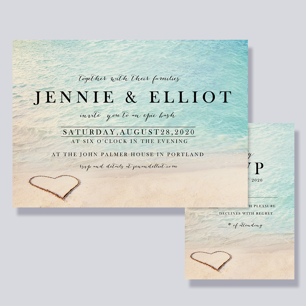 Romantic Heart In The Sand Beach Wedding Invitations