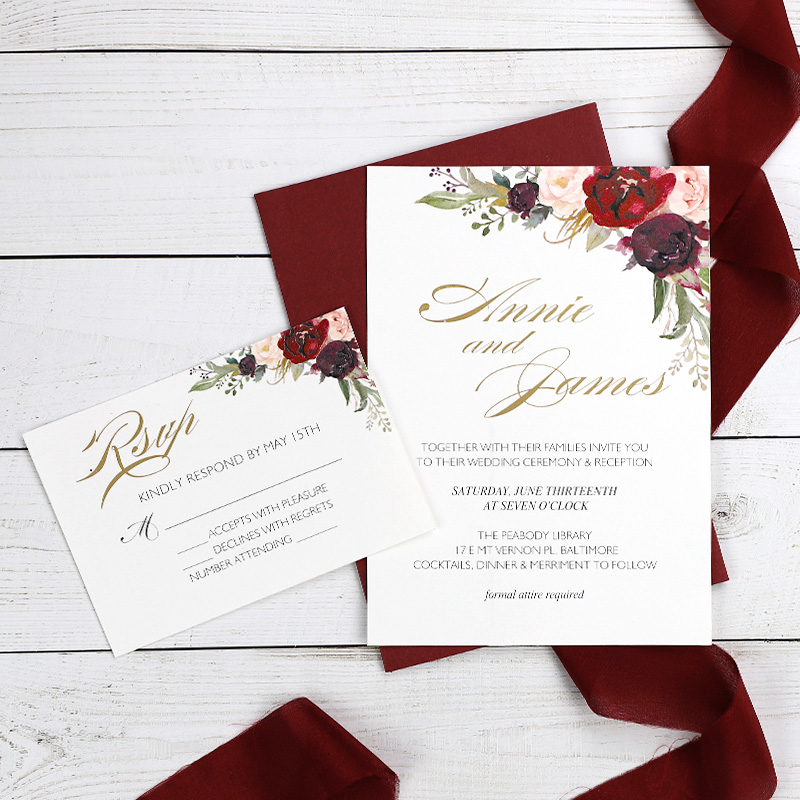 Foiled Floral Wedding Invitations Bohemian Burgundy and Blush Invitation Cards Set PWIG003