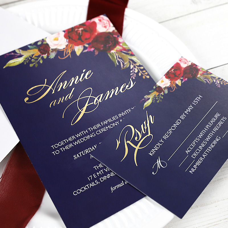 Foiled Floral Wedding Invitations Burgundy Navy and Blush Bohemian Invitation Cards PWIG004