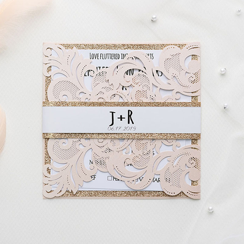 Romantic Blush Shimmer Laser Cut Wrap With Rose Gold Glittery Belly