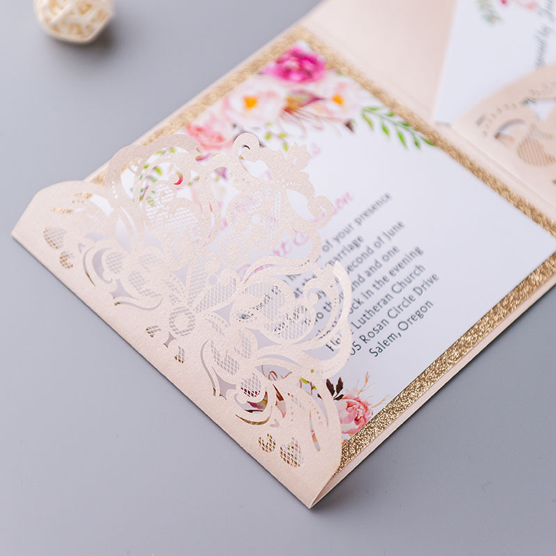 graceful blush shimmer laser cut tri-fold wrap with pocket and fragrant floral wedding invitation PWIL005