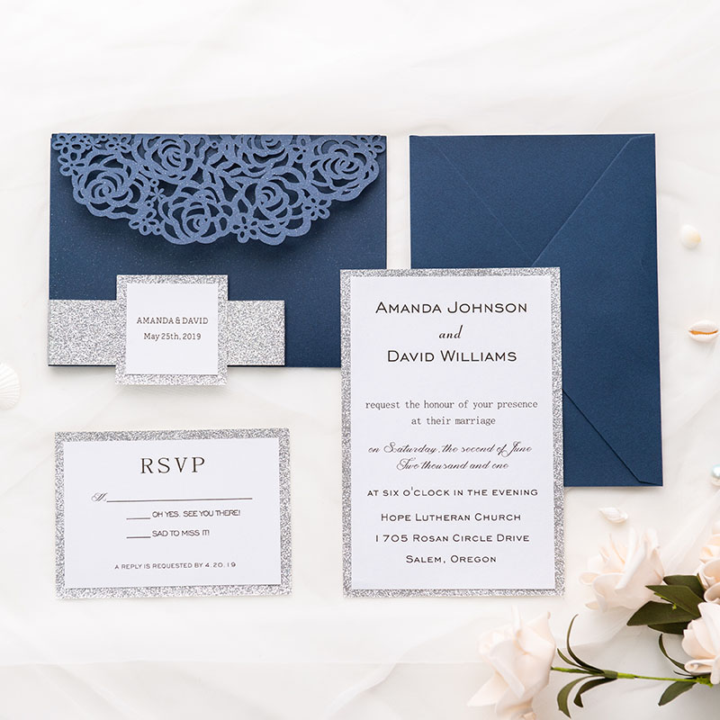 navy blue shimmer rose pattern laser cut wrap with pocket and silver glittery belly band wedding invitation PWIL010
