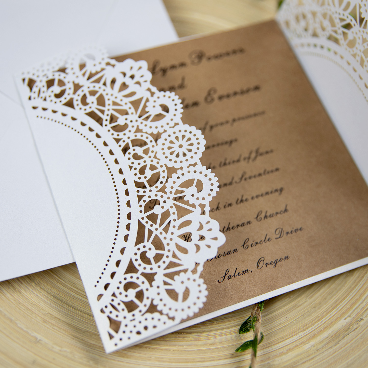 country ivory laser cut wedding invite with rope and tag PWIL014