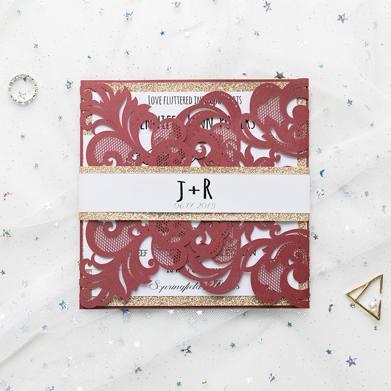 33eacfa10e64c classic burgundy shimmer laser cut wedding invite with rose gold ...