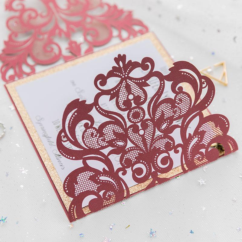 classic burgundy shimmer laser cut wedding invite with. Black Bedroom Furniture Sets. Home Design Ideas