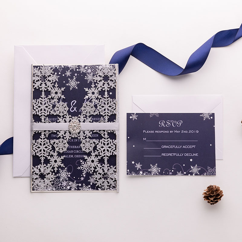 silver glittery snowflake pattern laser cut wedding invite with ribbon and bling rhinestone PWIL023
