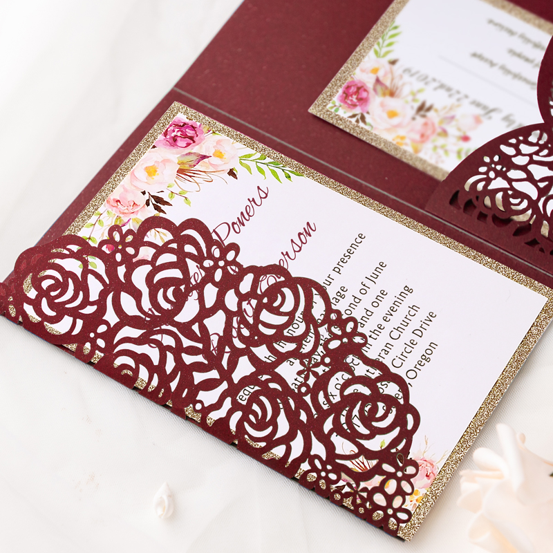 Burgundy Shimmer Rose Pattern Laser Cut Wrap With Pocket And Gold Glittery Belly Band Wedding Invitation Pwil025 Pro Invites