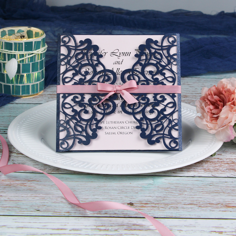 Elegant Navy Blue Laser Cut Wrap Wedding Invte With Mauve Ribbon PWIL042