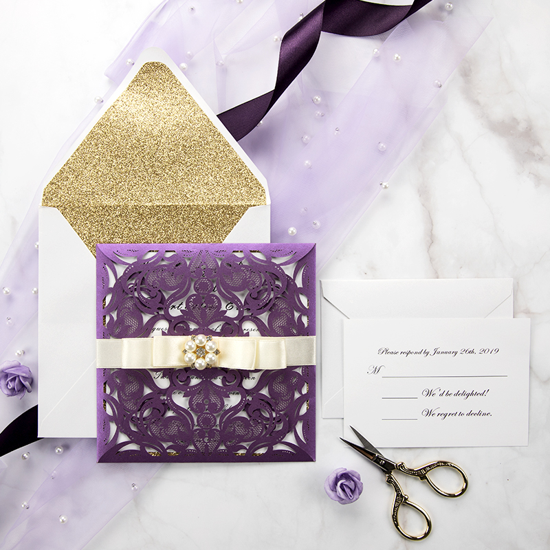 Eggplant Purple Laser Cut Wedding Invitation Cards With Gold Glittery Liners Pwil055 Pro Wedding Invites