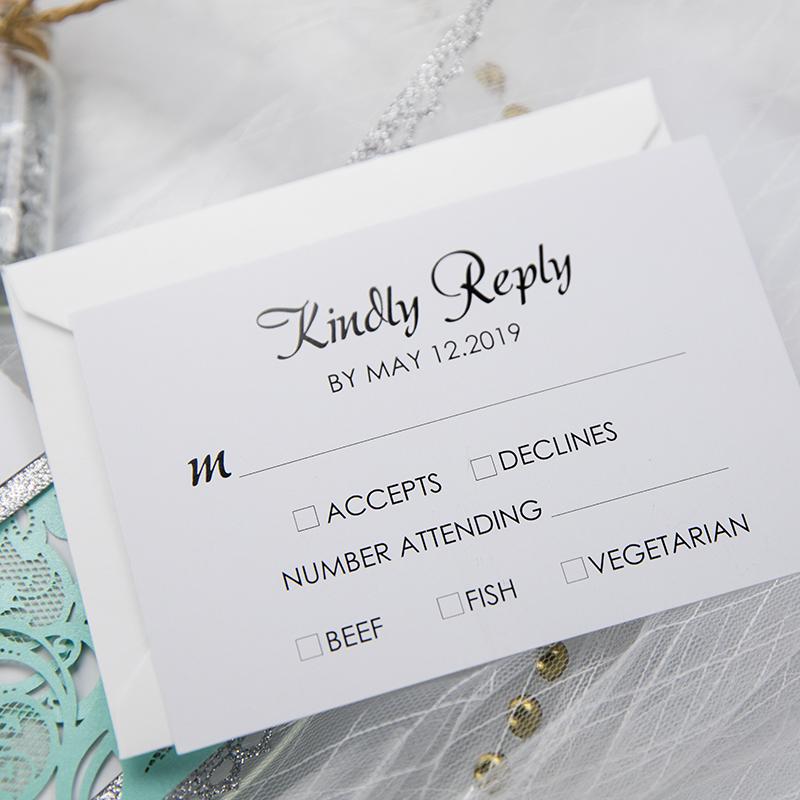 Tiffany Blue Swirl Laser Cut Wedding Invitation Kits Turquoise And