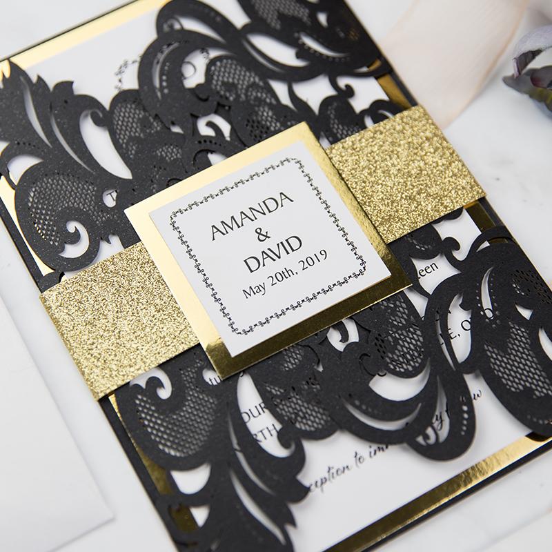 Black Laser Cut Wedding Invitations: Luxury Black Shimmer Laser Cut Wedding Invitations With