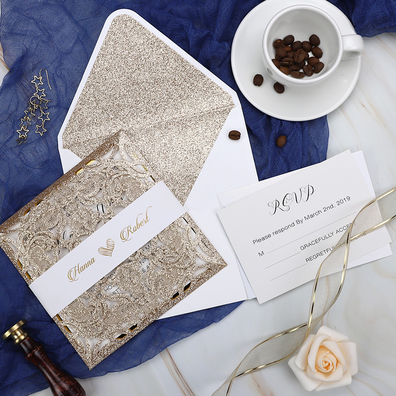 The Royal Wedding Invitation With Rose Gold Glittery Laser Cut Sleeve PWIL066