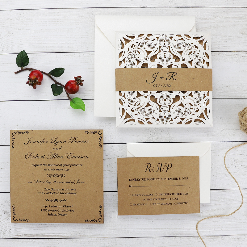 Simple Ivory Laser Cut Invitation With Craft Inner Paper PWIL070