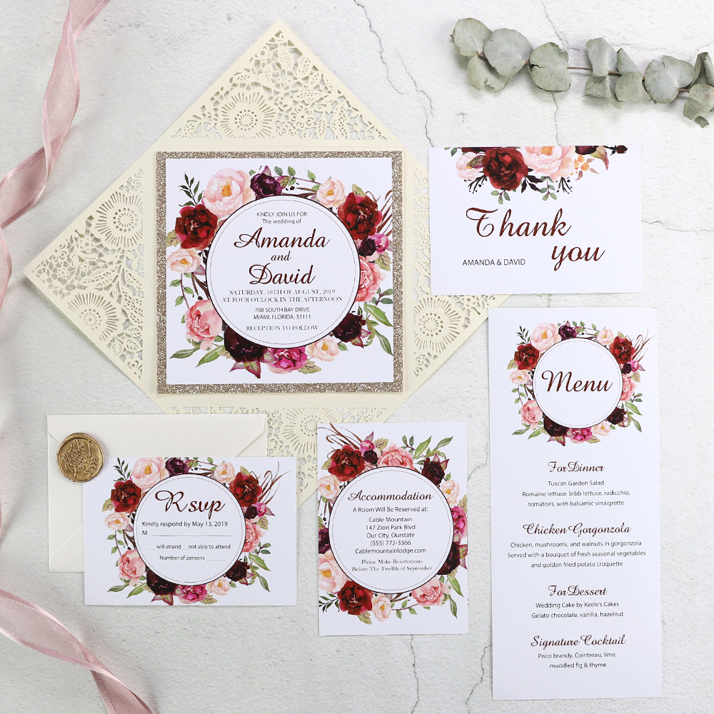Ivory Laser Cut Fl Unique Wedding Invitations With Glittery