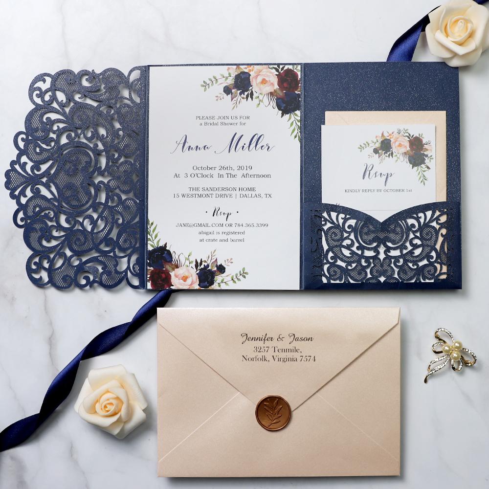 Wedding Laser Cut Invitations: Boho Navy Blue Elegance Laser Cut Wedding Invitations